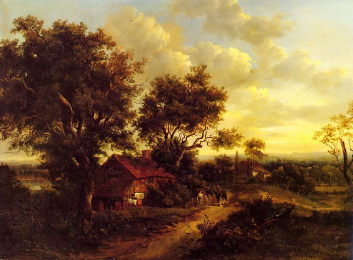 Patrick Nasmyth Paintings-A Landscape With A Cottage Near Dorking, 1828