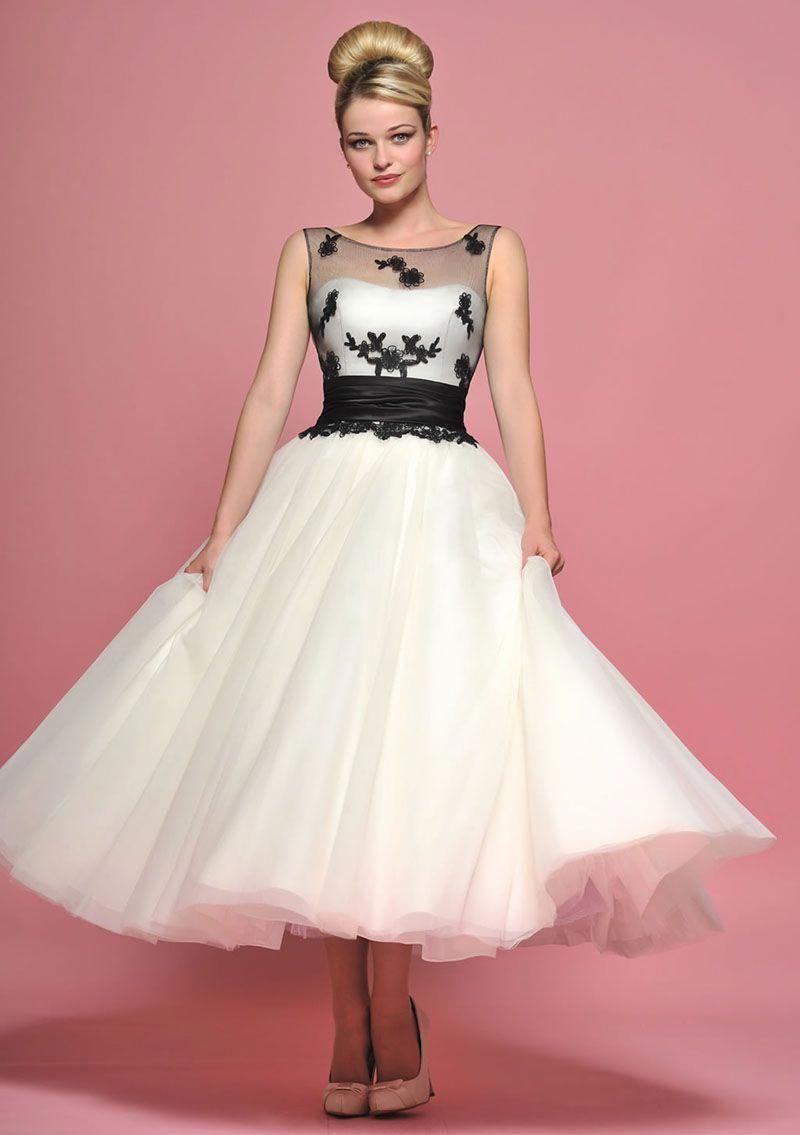 Classic Black And White Organza Sleeveless A Line Wedding Dress Cocktailweddingdress 1950s Style Wedding Dresses Tea Length Dresses Tea Length Wedding Dress [ 1135 x 800 Pixel ]