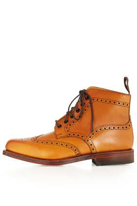 Traditional Brogue Boot by LOAKE for Topshop - Flat Boots