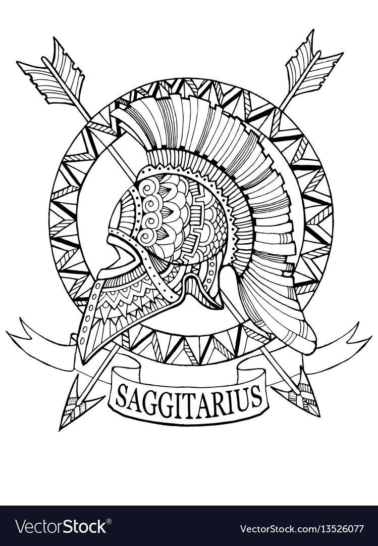 Sagittarius Zodiac Sign Coloring Book Vector Image On Vectorstock Zodiac Sagittarius Coloring Books Sagittarius Tattoo