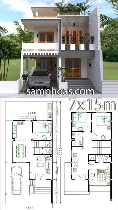 Home Design Plan 7x15m With 4 Bedrooms Planos De Casas Pequenas Modernas Planos Para Construir Casas Diseno Casas Modernas
