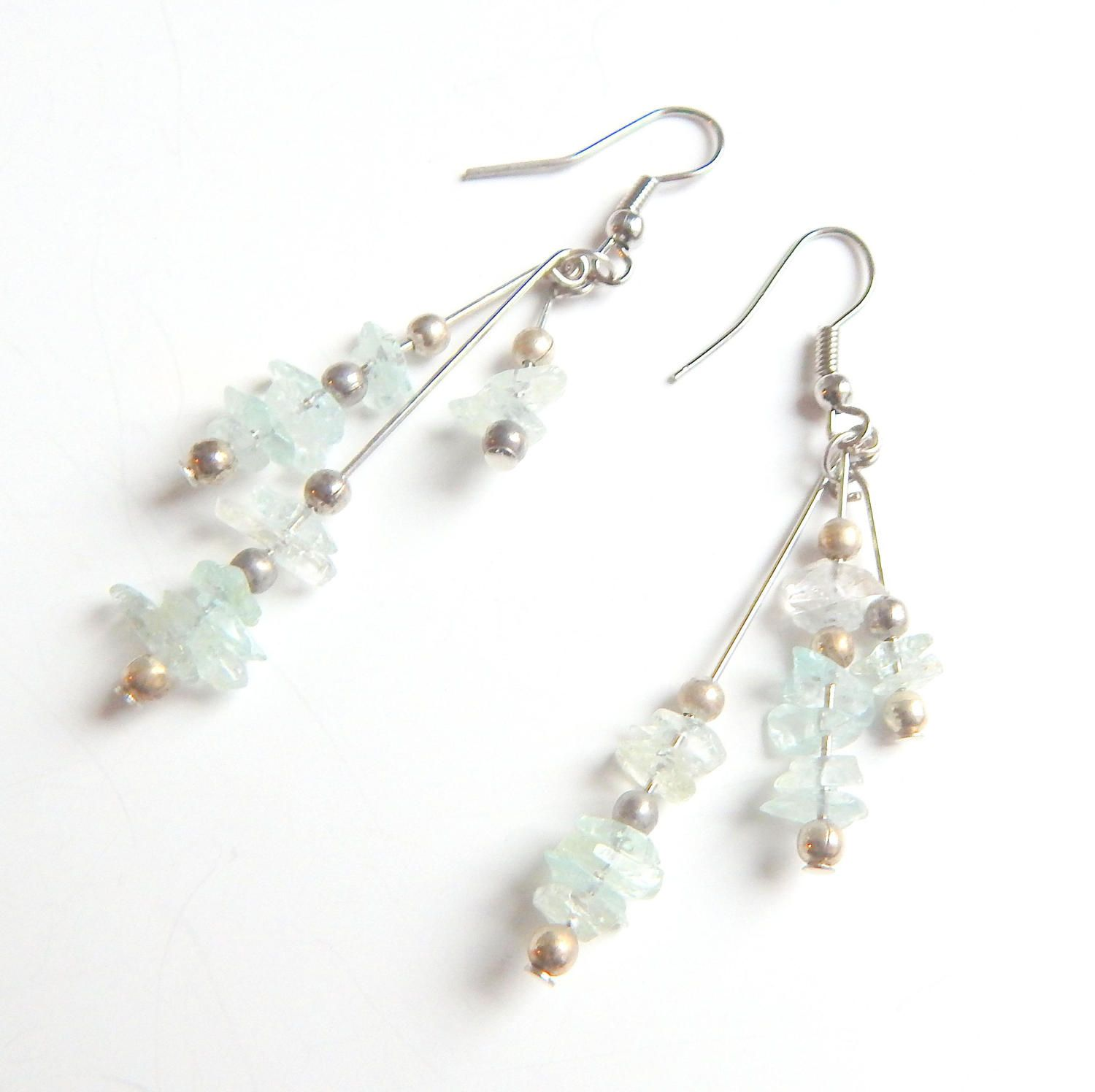 Vintage Aquamarine Chip Dangle Earrings, Aquamarine Drop Earrings, Pisces Birthstone, Gift for Her, Summer Jewelry by ArtfulAlleyStudio on Etsy
