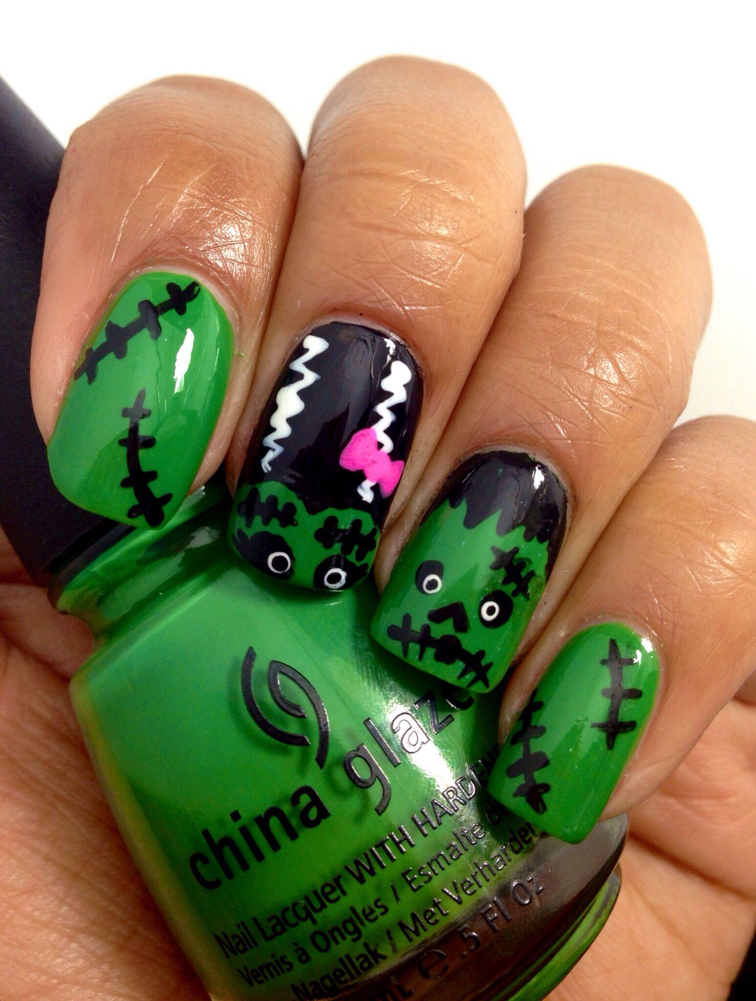 Frankenstein nail art. Bride of Frankenstein nail art. - Frankenstein Nail Art. Bride Of Frankenstein Nail Art. Halloween