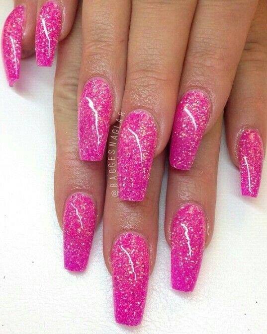 Love This Glitter Acrylic Nail Art Design Ideas Long Nails Gel Nails Decorado De Unas Pink Glitter Nails Pink Acrylic Nails Nail Designs Glitter