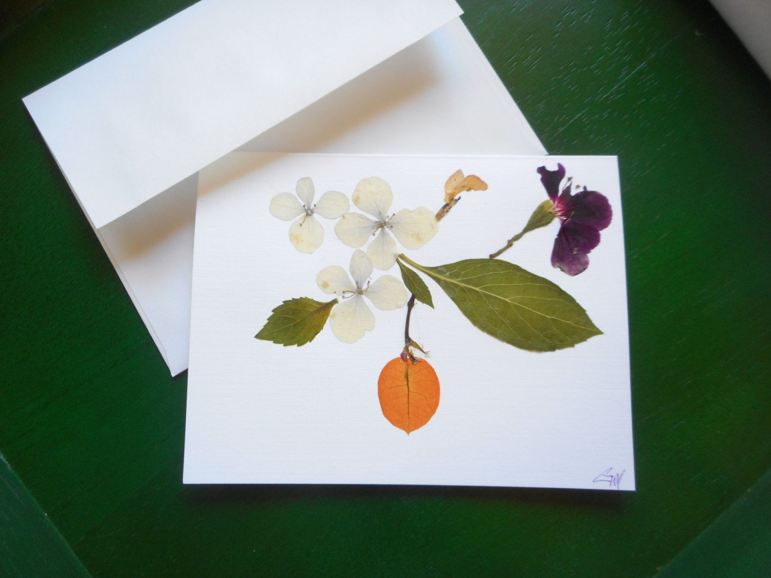 Fall Season Greeting Card With Real Pressed Flowers Petals And