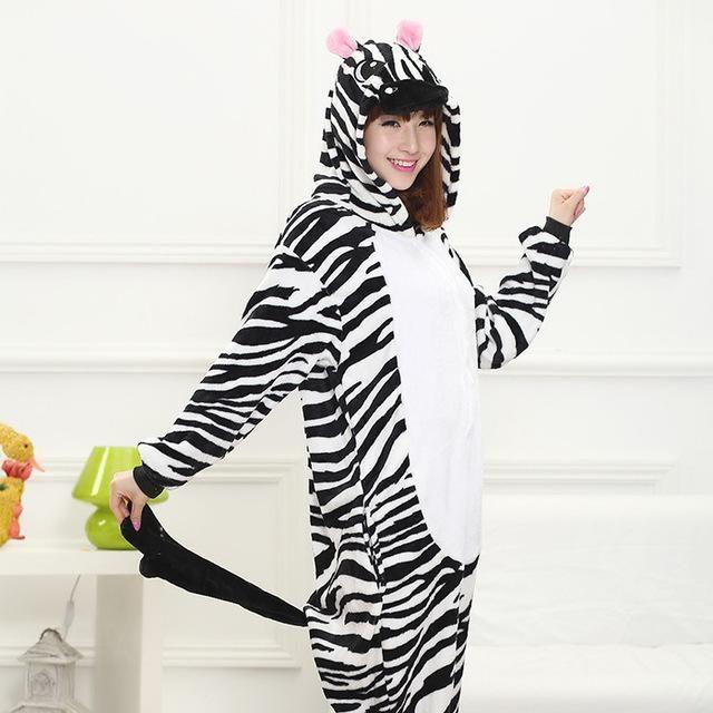 PSEEWE Unicorn Stitch Panda Unisex Flannel Pajamas Adults anime cosplay  Animal Onesies Sleepwear Hoodie For Women Men a192f0500eb5f