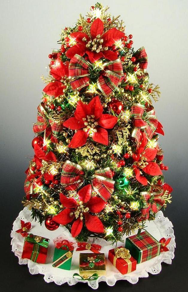 mini tabletop christmas tree poinsettias and plaid bows 16 rh pinterest com