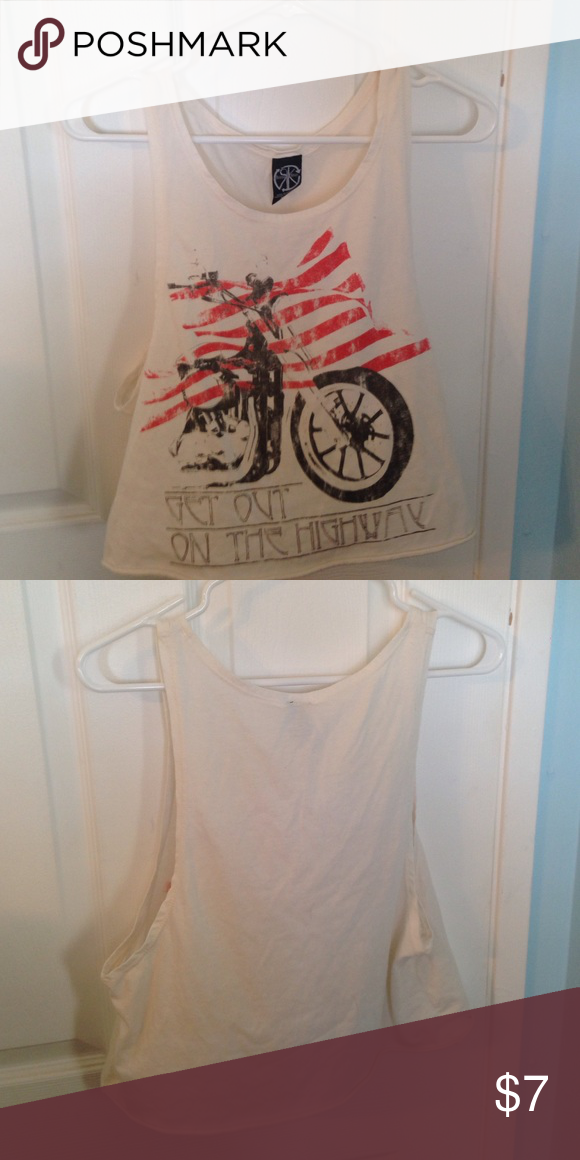 Nordstroms muscle tee Nordstroms muscle tee featuring a motor cycle and American flag. Only worn a couple times. Little sign of wear and tear. Tops Muscle Tees