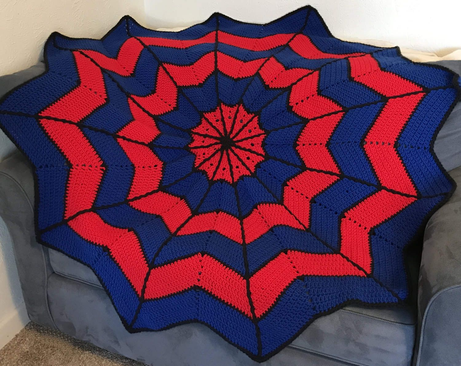 A personal favorite from my Etsy shop https://www.etsy.com/listing/503475104/spider-web-afghan-blanket