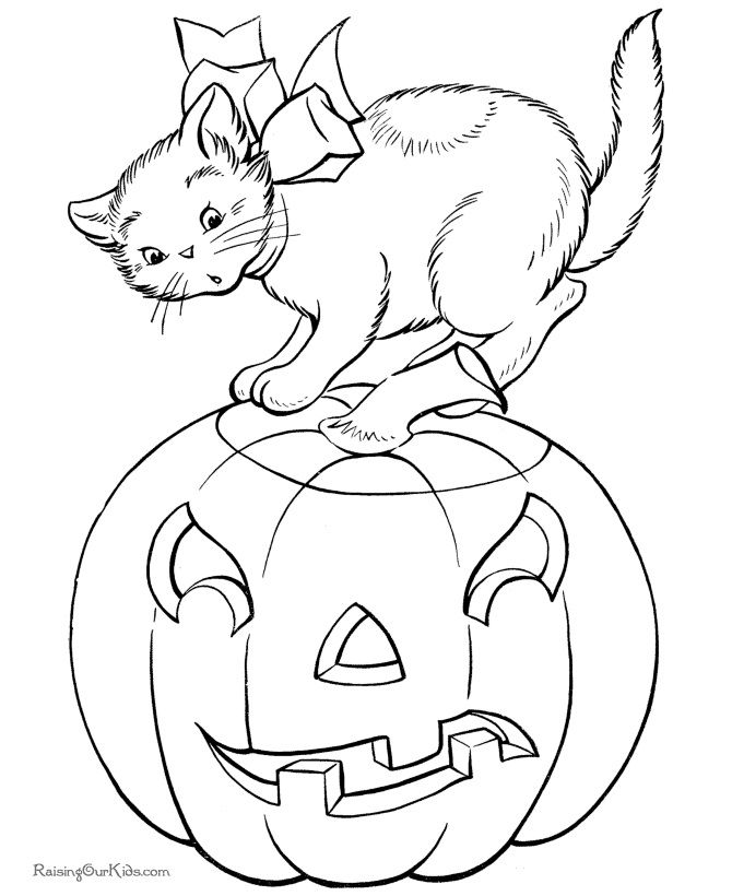 Cat On A Pumpkin Pumpkin Coloring Pages Halloween Coloring