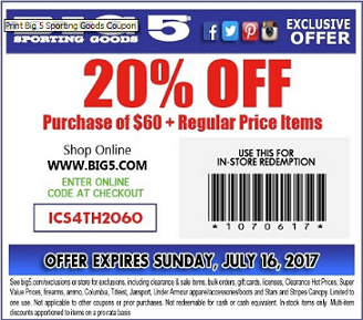 Get 20 Off Orders Over 60 at Big 5's Sporting Goods with