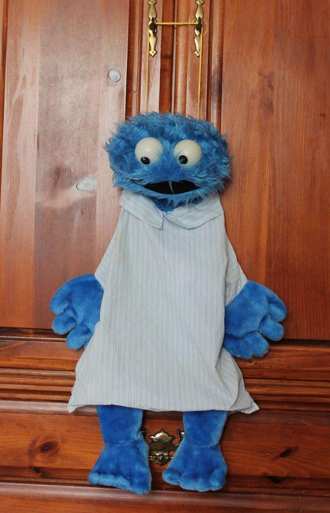 Vintage 80s Sesame Street Cookie Monster Hanging Plush Pajama Bag ...