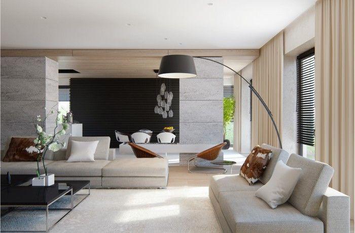 Salon Design Par Fedorova Avec Lampadaire Et Coussins Peau De Vache