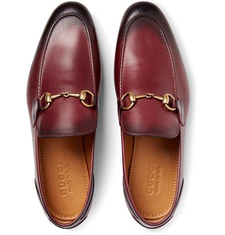 2e34fe08d27 GUCCI Horsebit Burnished-Leather Loafers