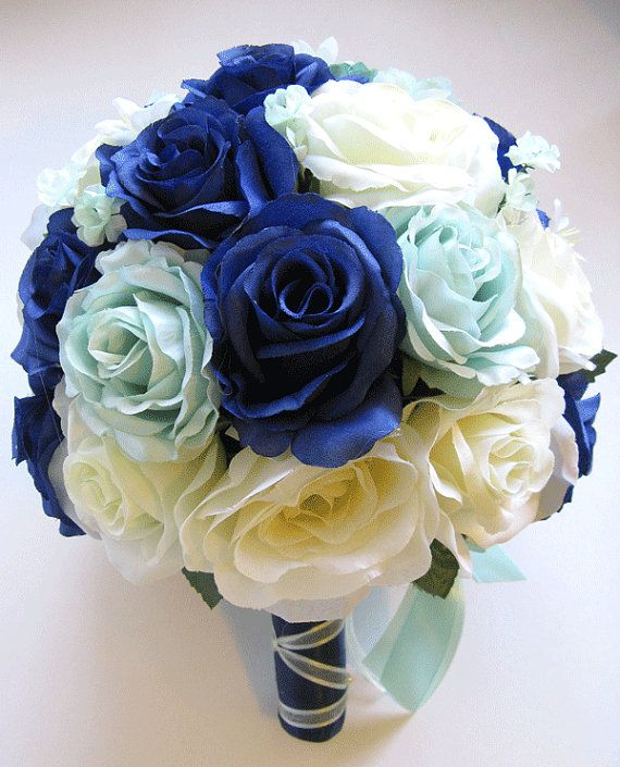 Wedding bouquet bridal silk flower decoration 17 pieces package navy wedding bouquet bridal silk flower decoration 17 pieces package navy blue mint green ivory free shipping centerpieces rosesanddreams mightylinksfo Images