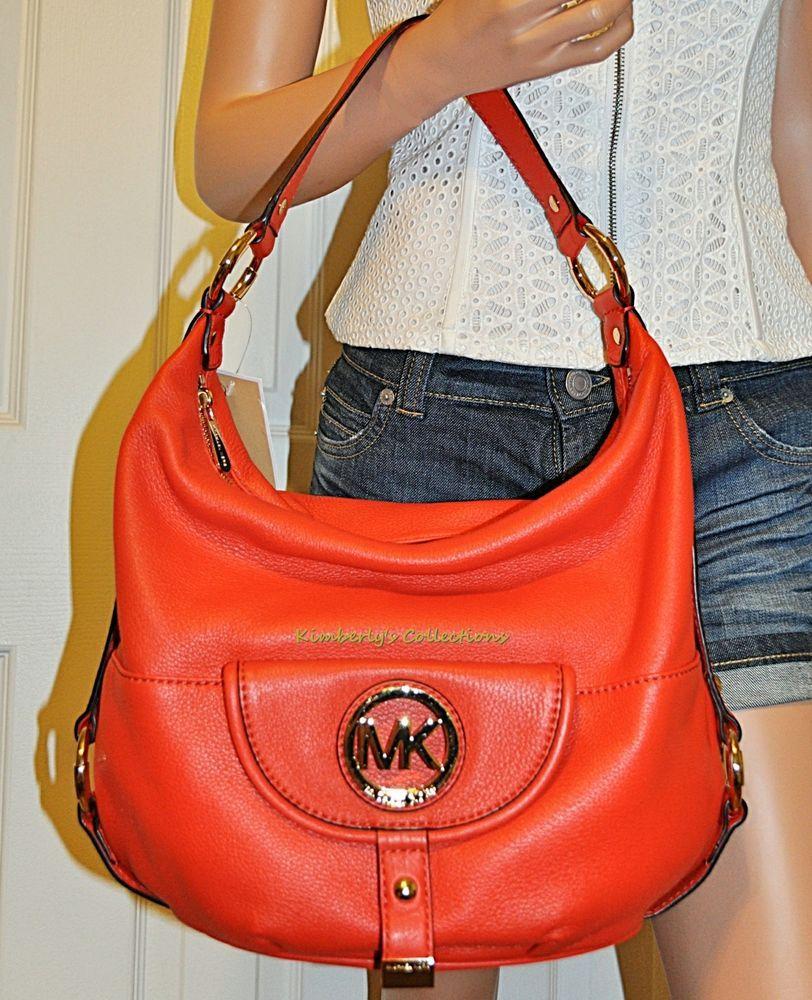 9906b81725a49e Michael Kors Fulton Hobo Large Leather Shoulder Tote Bag Purse Mandarin NWT  #MichaelKors #ShoulderBag