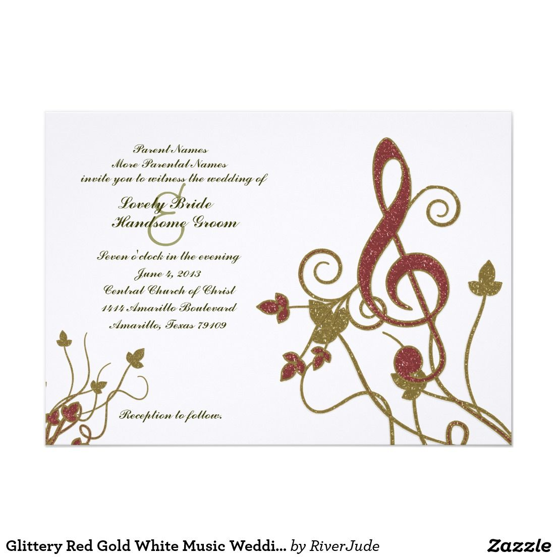 Glittery Red Gold White Music Wedding Invitation | Music wedding ...