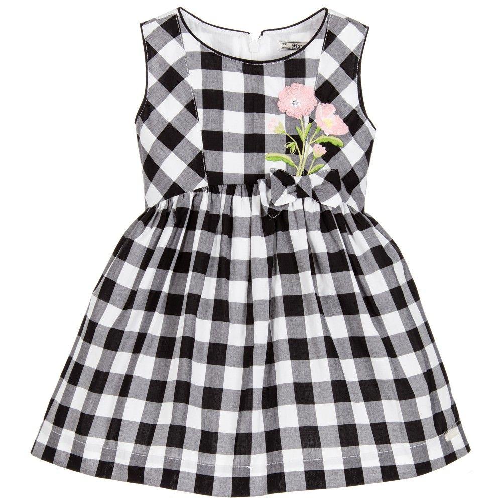 f09c8d0890b8 Mayoral Girls Black & White Gingham Check Dress at Childrensalon.com ...