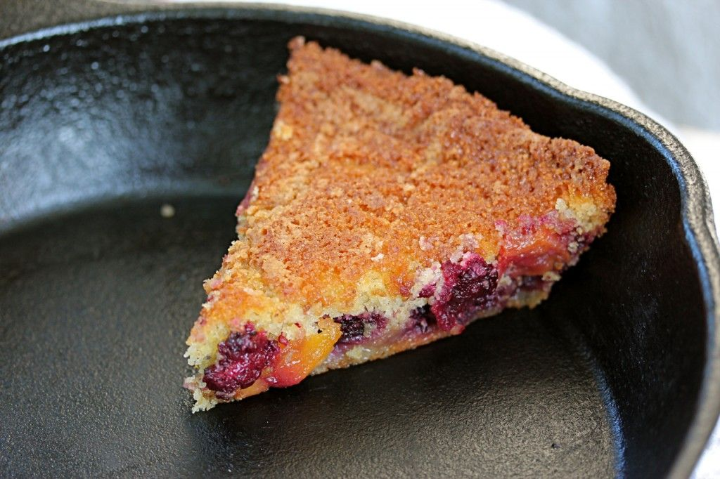 Skillet Corn Cake with Blackberries and Nectarines