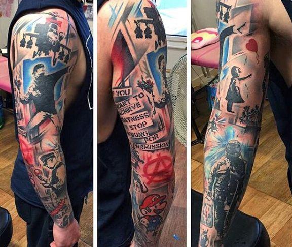 28233091666e7 70 Banksy Tattoos For Men - Street Art Ink Design Ideas | Tattoo's ...