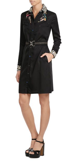 JUST CAVALLI  Embroidered Shirtdress  | STYLEBOP.com