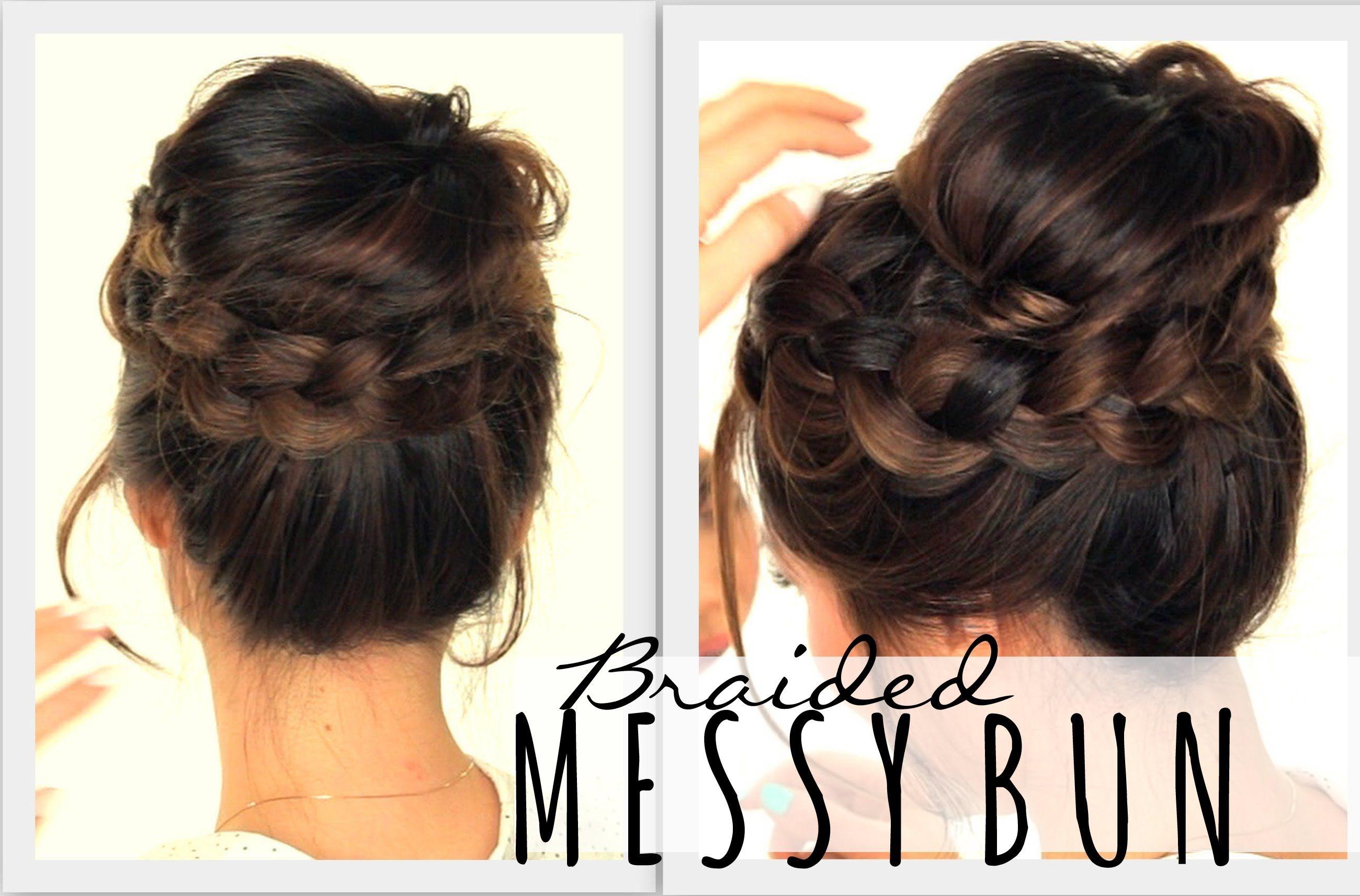 2nd Day Hairstyles Messy Bun Crown Braid Hair Tutorial
