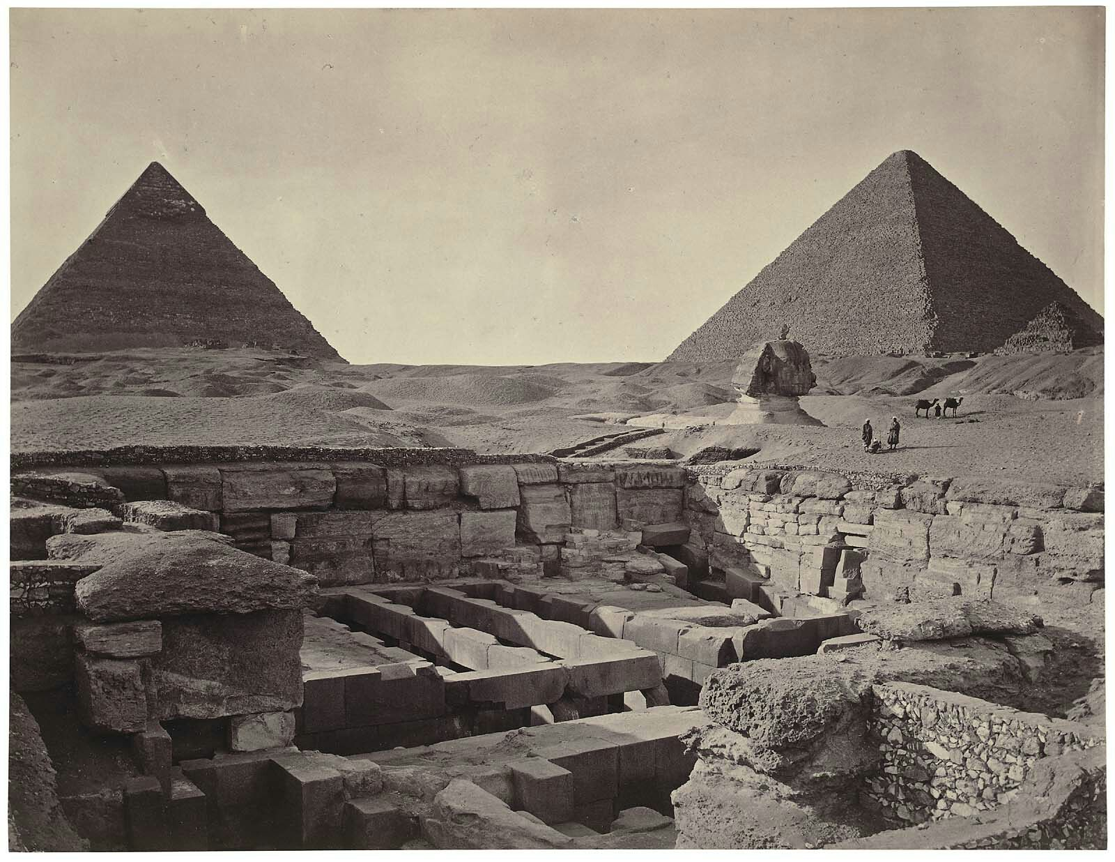 The Giza pyramids of Khufu and Khafra, the Great Sphinx, and the valley temple of Khafra in the foreground, looking northwest c. 1870. Adolphe Braun (French, 1812–1877)   The Museum of Fine Arts, Boston
