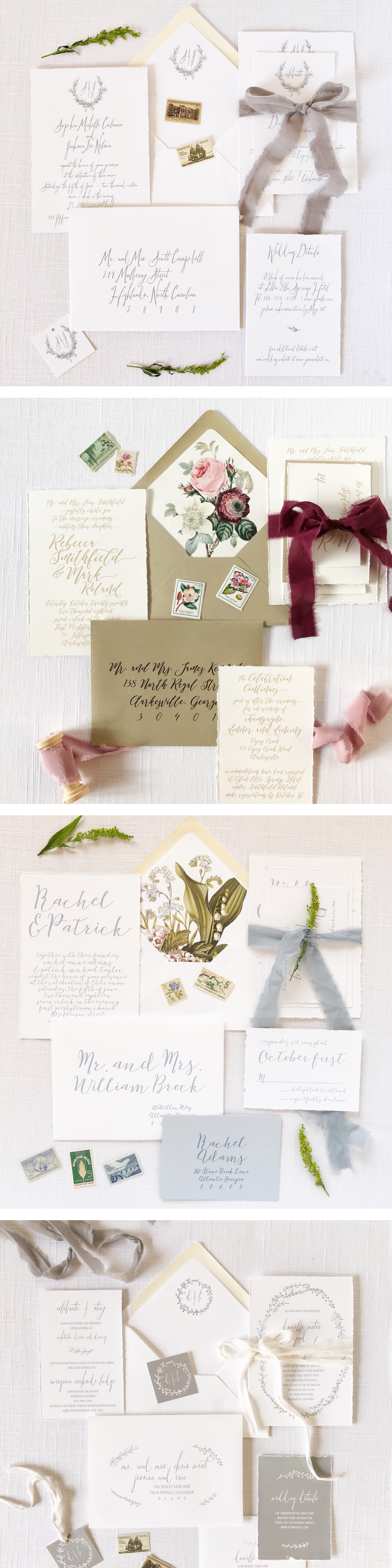 Cotton cardstock, handtorn edges, muted colors - these invitations ...