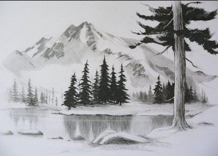 32 Gambar Lukisan Bunga Yang Mudah Ditiru Contoh Lukisan Pemandangan Yang Mudah Ditiru Pensil In Downl Landscape Drawings Drawing Scenery Landscape Sketch