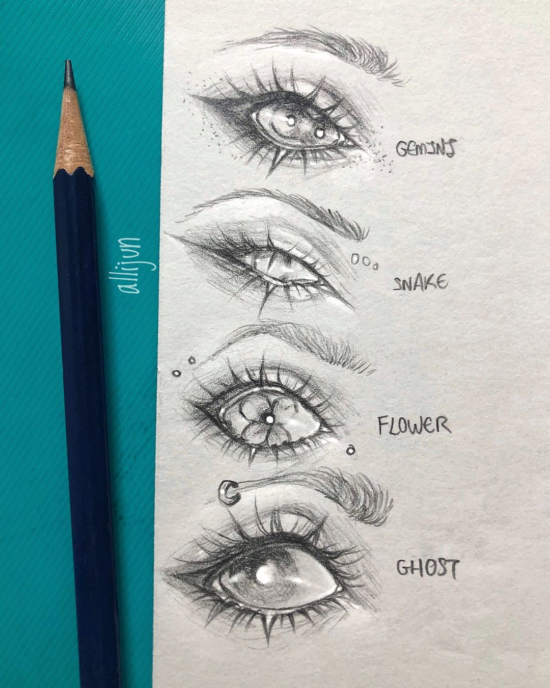 I Asked Kids At School To Give Me A Random Word And I Ll Draw An Eye Based Off Of It And These Are The Result Eye Drawing Pencil Art Drawings Creative