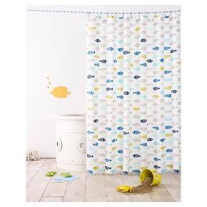 Fish Shower Curtain Calm Gray