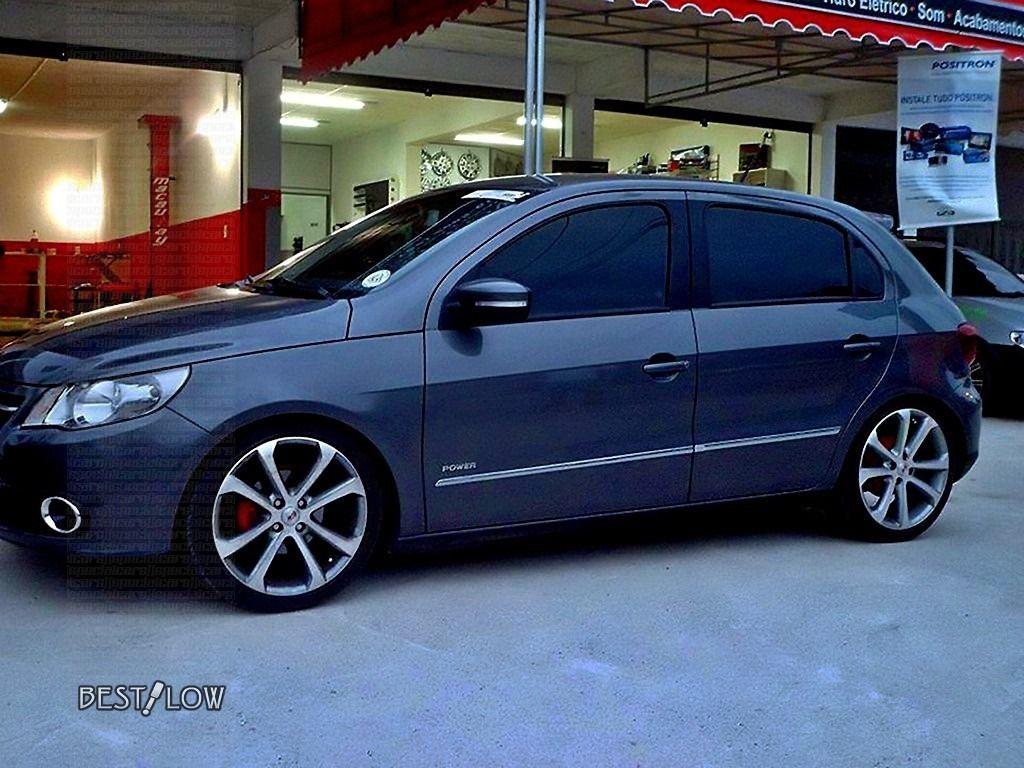 VW Gol G5 rebaixado grafite com rodas réplica Gol Power aro 17 ... 515f79dc541fe