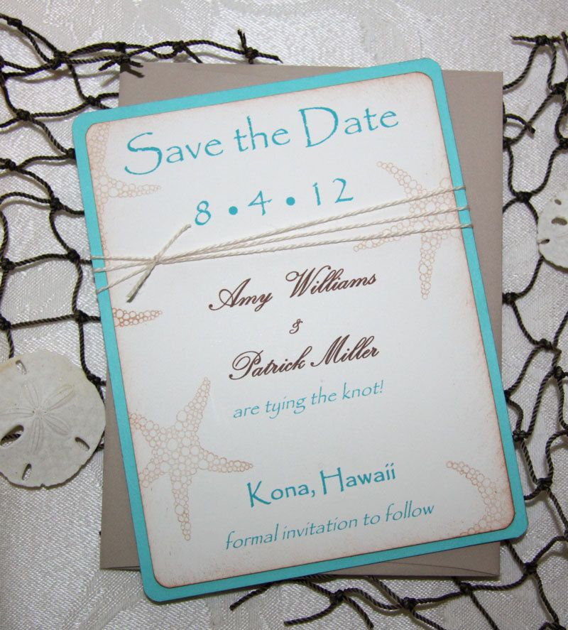 Matching Save The Date And Wedding Invitations: Beach Wedding Save The Date Cards
