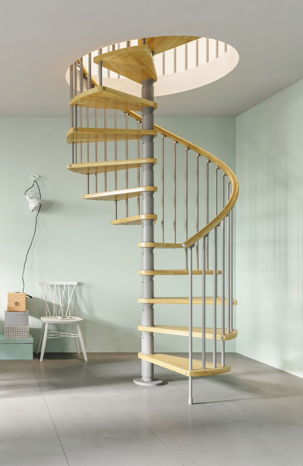 Best Gamia Wood Deluxe Spiral Stair Kit 1200Mm Spiral 400 x 300