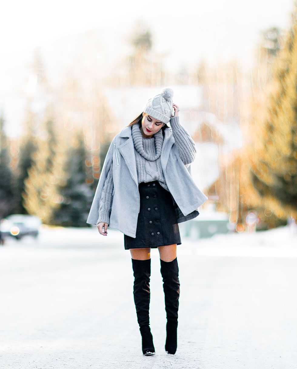 fashionable winter outfit idea for ski resort whistler, canada