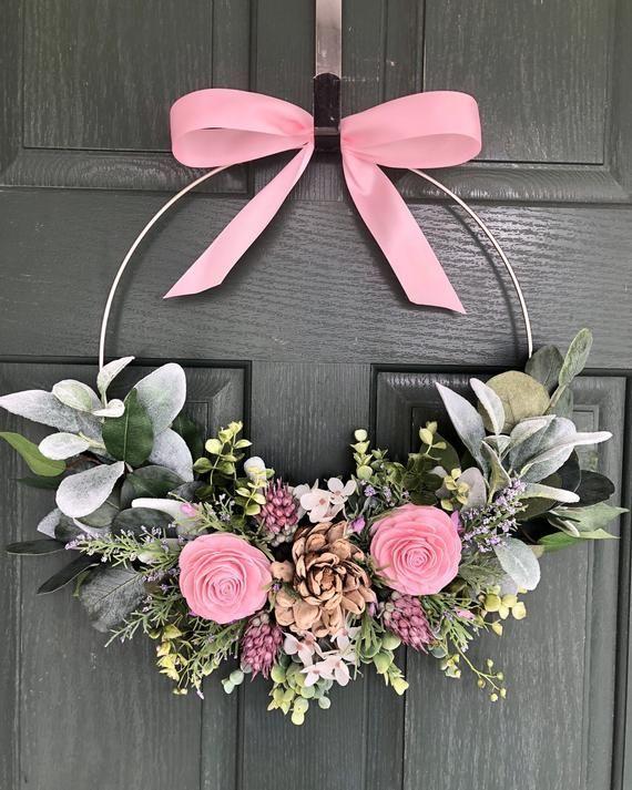 Photo of Spring wreath, Summer wreath, Modern Hoop wreath, Wreaths for front door, Spring wreaths for …