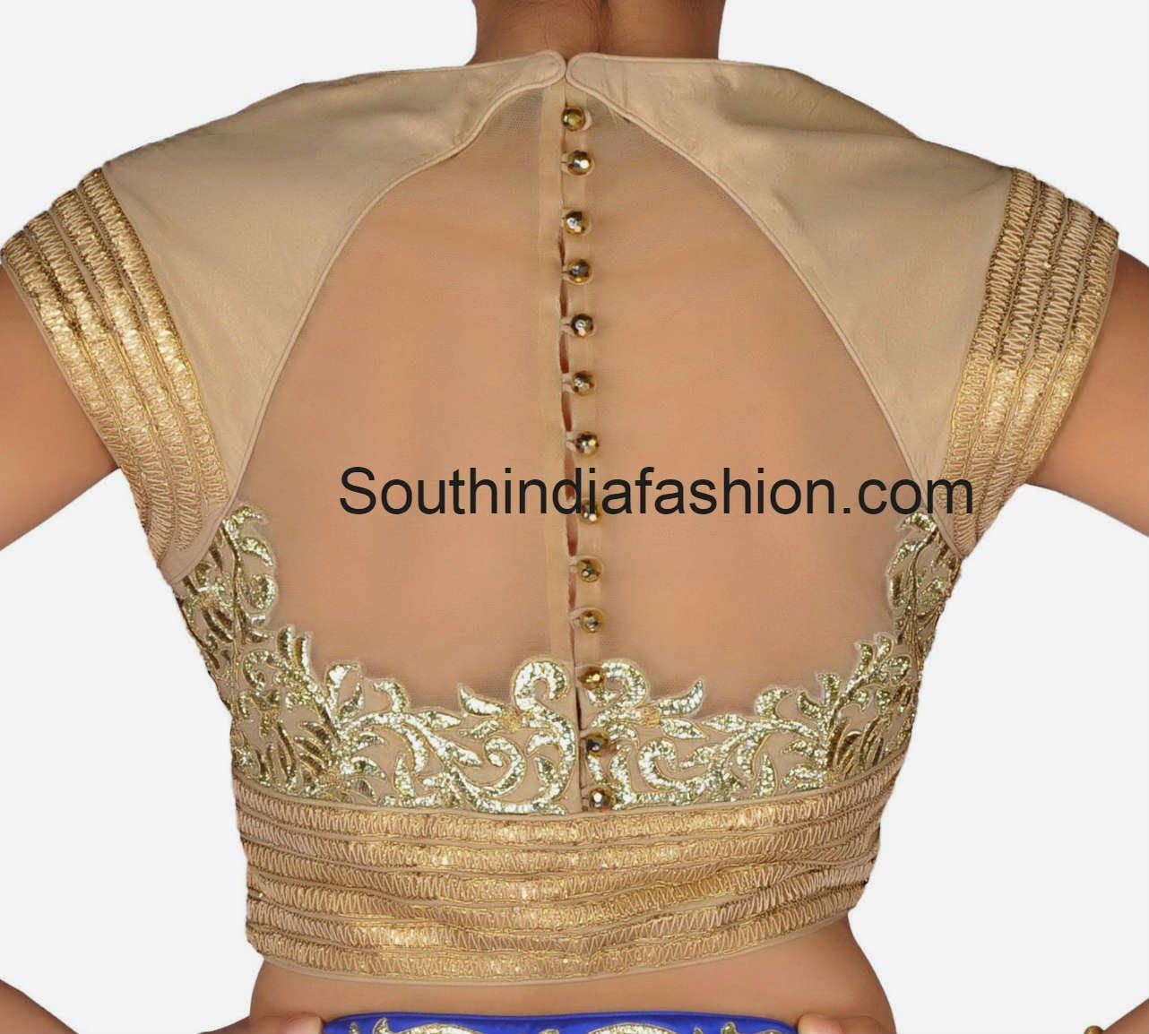 Golden saree blouse design high neck blouse with net back  high neck blouse blouse designs