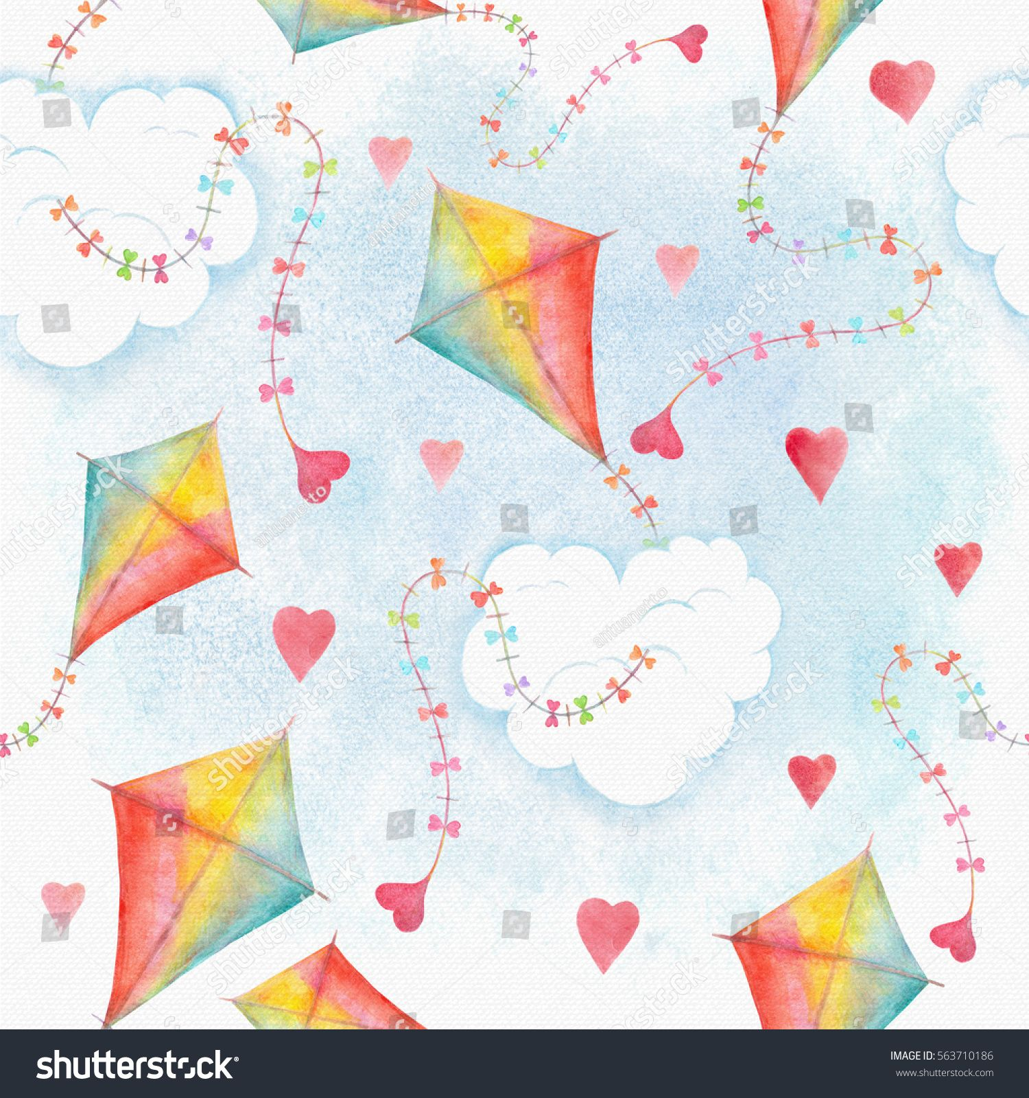 Watercolor Seamless Pattern Background With Flying Kite In Rainbow