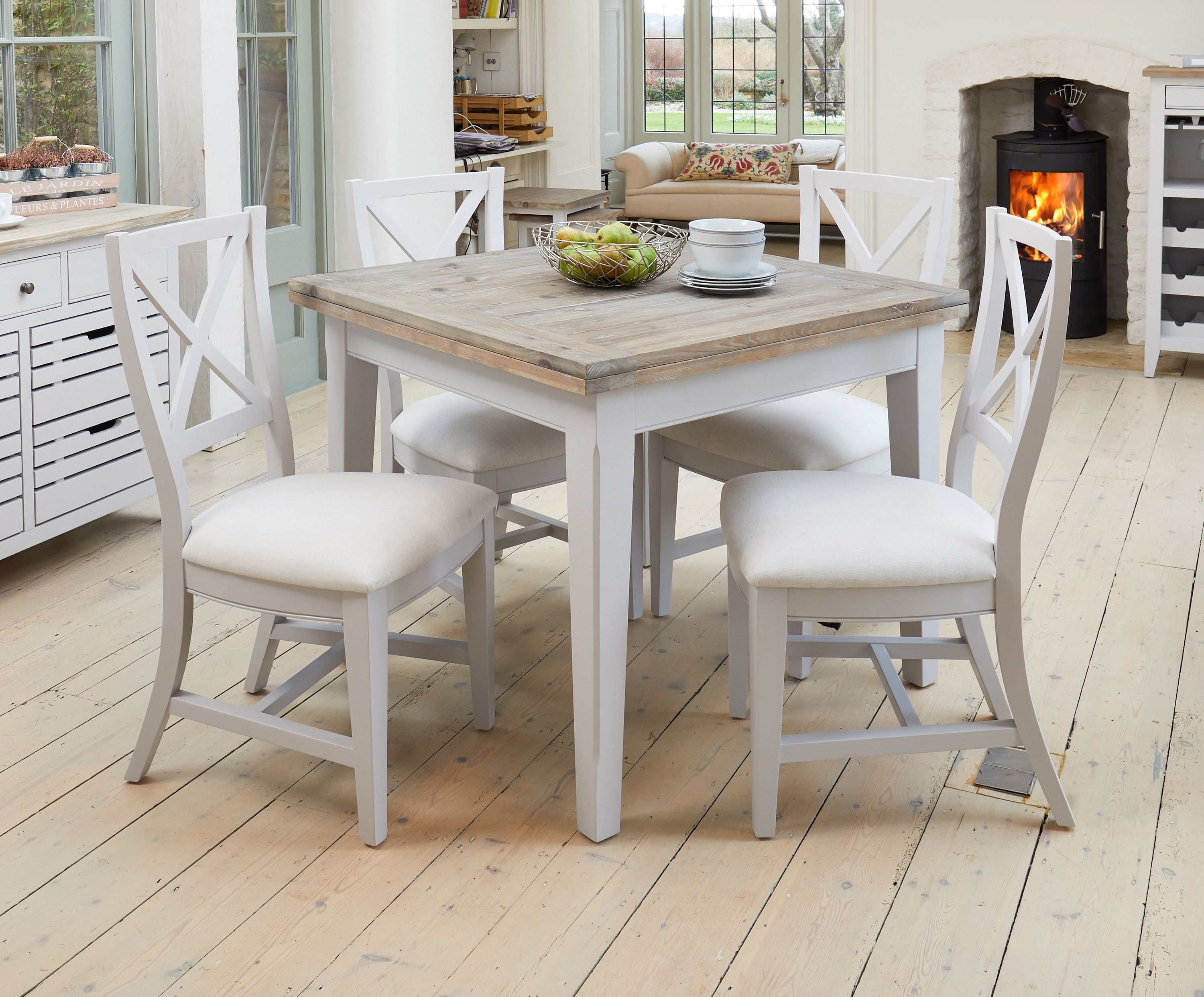 Signature Grey Square Extending Dining Table Square Dining