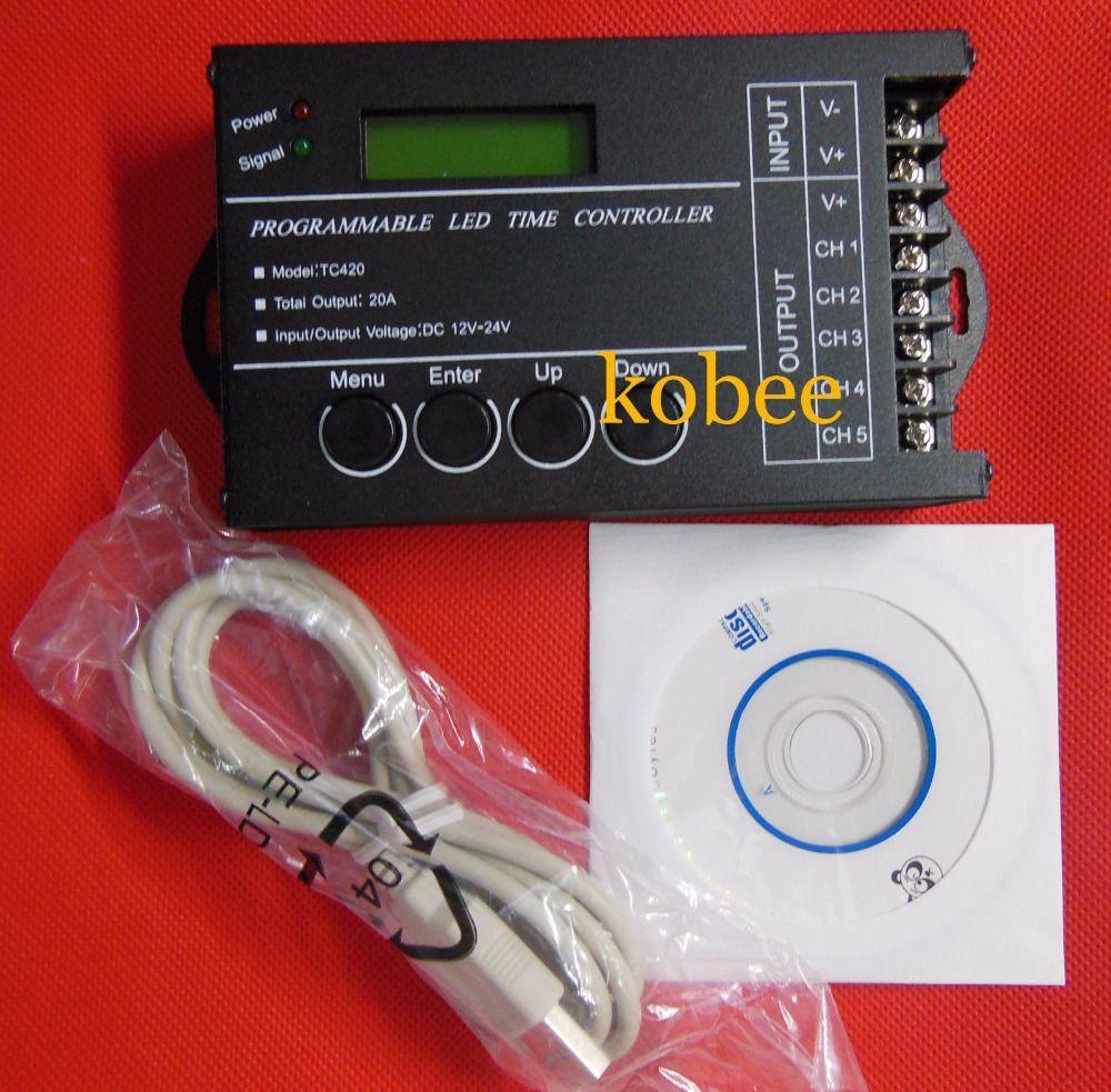 Czas programowalny Sterownik LED RGB Ściemniacz TC420 DC12V 24 V 5
