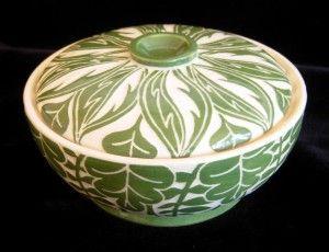 Green leaf bowl - Constance Bacon CBacon sgraffito pottery ceramics clay