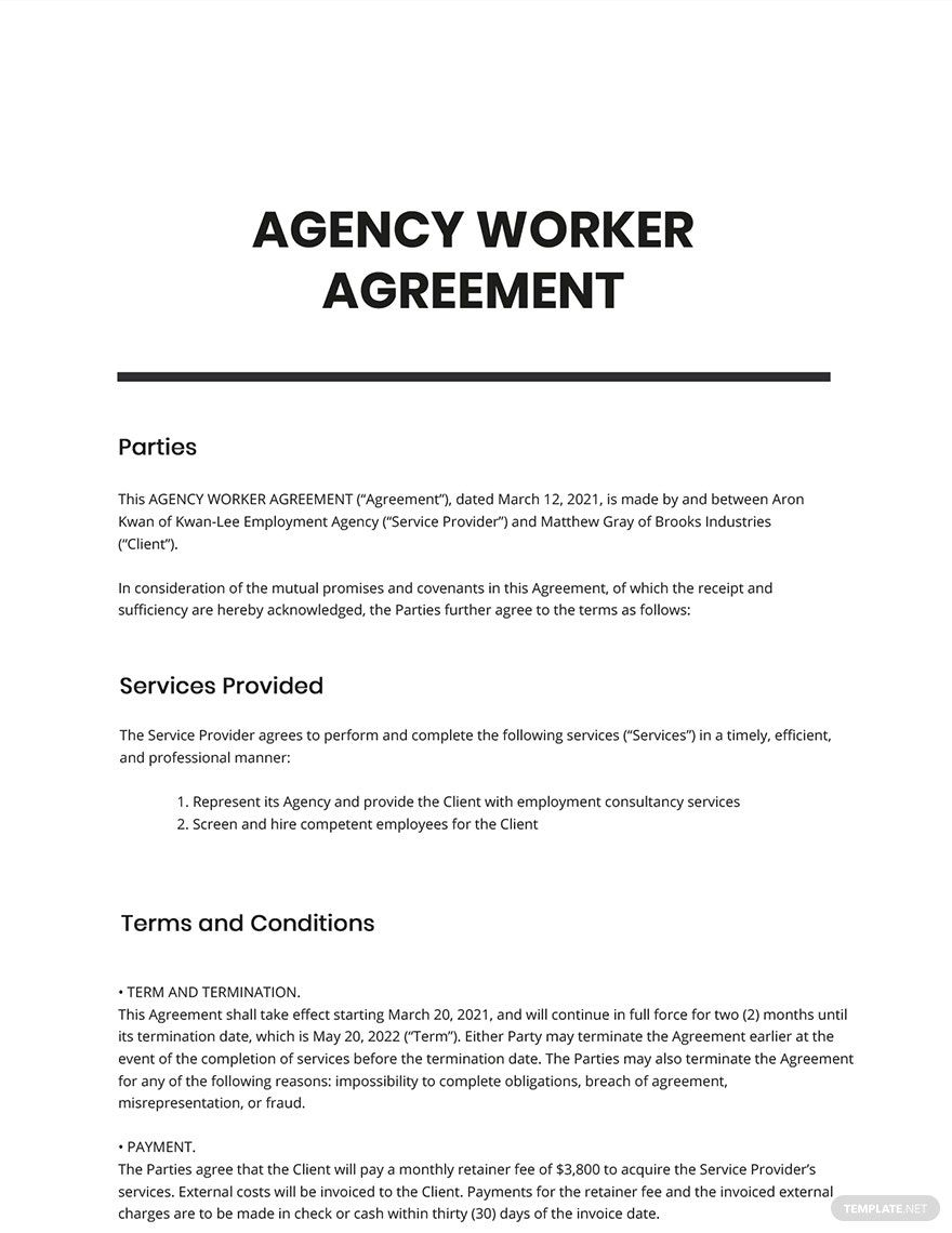 Agency Worker Agreement Template Free Pdf Word Doc Word Doc Agency Templates