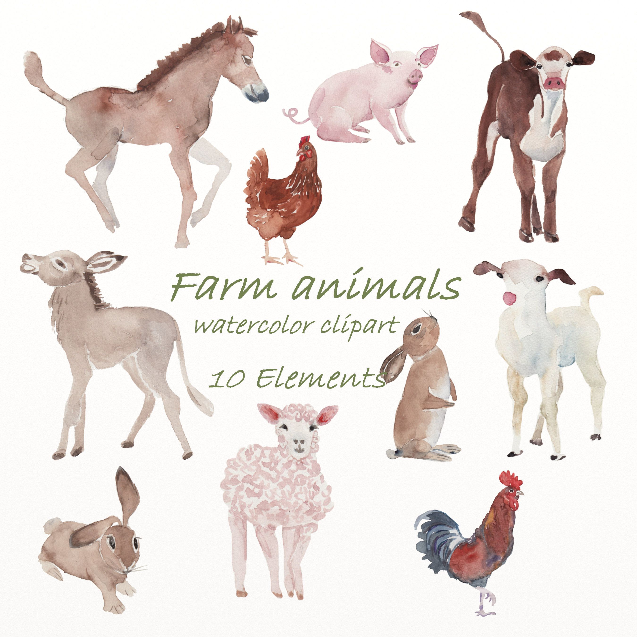 Farm Animals Watercolor Clipart Country Village Png Etsy In 2021 Watercolor Animals Farm Animals Animals