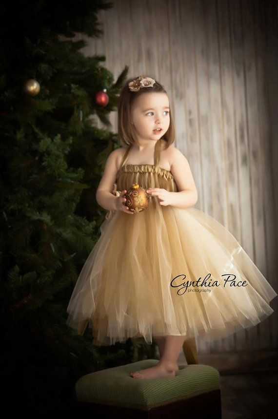 fe08c686f Flower Girl Tutu Dress Empire Waist Babydoll Style with Satin Sash Antique  Gold and Champagne and Satin Flower Hair Clip CUSTOMIZABLE