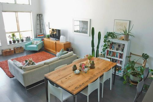 Eclectic living dining room small layout studio apartment for Eating tables for small spaces