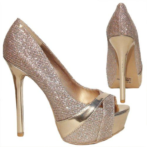 4ae51bd1fc2c Amazon.com  Womens Qupid Champagne Gold Glitter Peep Toe Platform Pump  (Miriam87)  Shoes