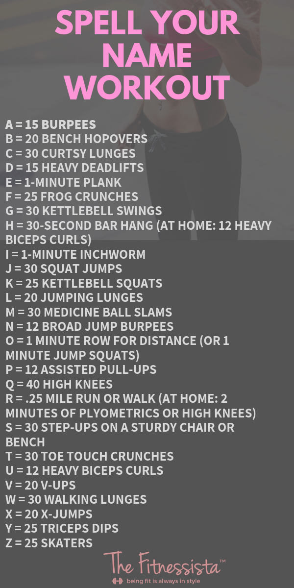 Spell Your Name Workout – The Fitnessista