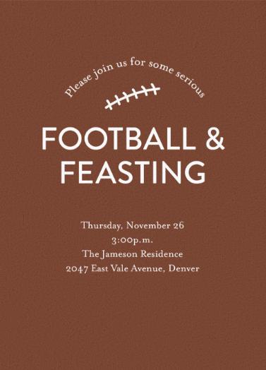 football feasting digital thanksgiving invitation get your best