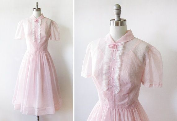 1950s pink dress / vintage 50s pink swiss dot dress / ruffled shirtwaist day dress