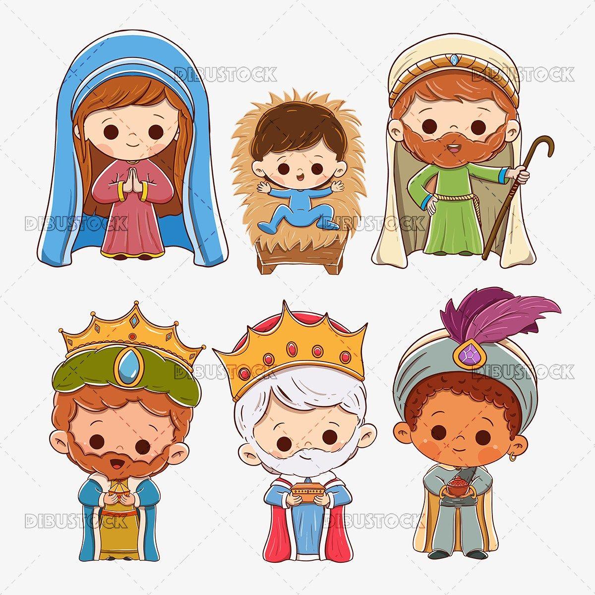 Portal De Belen Maria Jose El Nino Jesus Y Los Reyes Magos Melchor Gaspar Y Baltasar Personajes De Navidad Pesebre Dibujo Imagenes De Pesebres Navidenos